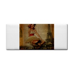 Cute Sweet Sailor Dress Vintage Newspaper Print Sexy Hot Gil Elvgren Pin Up Girl Paris Eiffel Tower Hand Towel by chicelegantboutique