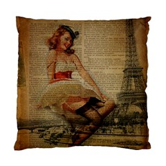 Cute Sweet Sailor Dress Vintage Newspaper Print Sexy Hot Gil Elvgren Pin Up Girl Paris Eiffel Tower Cushion Case (two Sided)  by chicelegantboutique