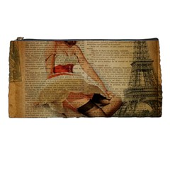 Cute Sweet Sailor Dress Vintage Newspaper Print Sexy Hot Gil Elvgren Pin Up Girl Paris Eiffel Tower Pencil Case by chicelegantboutique