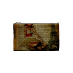 Cute Sweet Sailor Dress Vintage Newspaper Print Sexy Hot Gil Elvgren Pin Up Girl Paris Eiffel Tower Cosmetic Bag (small) by chicelegantboutique