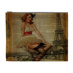 Cute Sweet Sailor Dress Vintage Newspaper Print Sexy Hot Gil Elvgren Pin Up Girl Paris Eiffel Tower Cosmetic Bag (xl) by chicelegantboutique