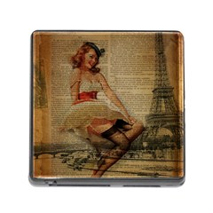 Cute Sweet Sailor Dress Vintage Newspaper Print Sexy Hot Gil Elvgren Pin Up Girl Paris Eiffel Tower Memory Card Reader With Storage (square) by chicelegantboutique