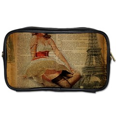Cute Sweet Sailor Dress Vintage Newspaper Print Sexy Hot Gil Elvgren Pin Up Girl Paris Eiffel Tower Travel Toiletry Bag (one Side) by chicelegantboutique