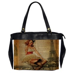 Cute Sweet Sailor Dress Vintage Newspaper Print Sexy Hot Gil Elvgren Pin Up Girl Paris Eiffel Tower Oversize Office Handbag (two Sides)