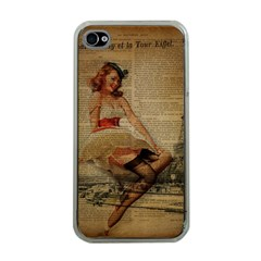Cute Sweet Sailor Dress Vintage Newspaper Print Sexy Hot Gil Elvgren Pin Up Girl Paris Eiffel Tower Apple Iphone 4 Case (clear) by chicelegantboutique