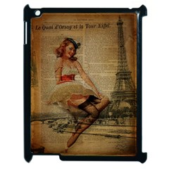 Cute Sweet Sailor Dress Vintage Newspaper Print Sexy Hot Gil Elvgren Pin Up Girl Paris Eiffel Tower Apple Ipad 2 Case (black) by chicelegantboutique