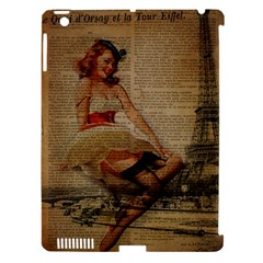 Cute Sweet Sailor Dress Vintage Newspaper Print Sexy Hot Gil Elvgren Pin Up Girl Paris Eiffel Tower Apple Ipad 3/4 Hardshell Case (compatible With Smart Cover) by chicelegantboutique
