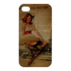Cute Sweet Sailor Dress Vintage Newspaper Print Sexy Hot Gil Elvgren Pin Up Girl Paris Eiffel Tower Apple Iphone 4/4s Premium Hardshell Case