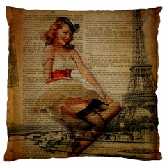 Cute Sweet Sailor Dress Vintage Newspaper Print Sexy Hot Gil Elvgren Pin Up Girl Paris Eiffel Tower Large Cushion Case (single Sided)  by chicelegantboutique