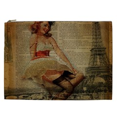 Cute Sweet Sailor Dress Vintage Newspaper Print Sexy Hot Gil Elvgren Pin Up Girl Paris Eiffel Tower Cosmetic Bag (xxl) by chicelegantboutique