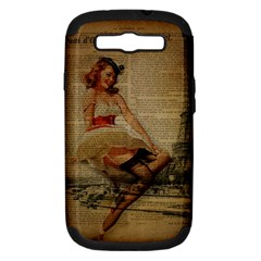 Cute Sweet Sailor Dress Vintage Newspaper Print Sexy Hot Gil Elvgren Pin Up Girl Paris Eiffel Tower Samsung Galaxy S Iii Hardshell Case (pc+silicone) by chicelegantboutique
