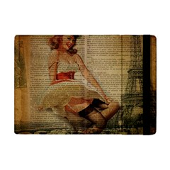 Cute Sweet Sailor Dress Vintage Newspaper Print Sexy Hot Gil Elvgren Pin Up Girl Paris Eiffel Tower Apple Ipad Mini Flip Case by chicelegantboutique