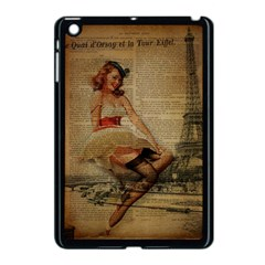 Cute Sweet Sailor Dress Vintage Newspaper Print Sexy Hot Gil Elvgren Pin Up Girl Paris Eiffel Tower Apple Ipad Mini Case (black) by chicelegantboutique