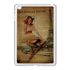 Cute Sweet Sailor Dress Vintage Newspaper Print Sexy Hot Gil Elvgren Pin Up Girl Paris Eiffel Tower Apple Ipad Mini Case (white) by chicelegantboutique
