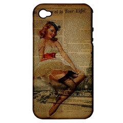 Cute Sweet Sailor Dress Vintage Newspaper Print Sexy Hot Gil Elvgren Pin Up Girl Paris Eiffel Tower Apple Iphone 4/4s Hardshell Case (pc+silicone) by chicelegantboutique