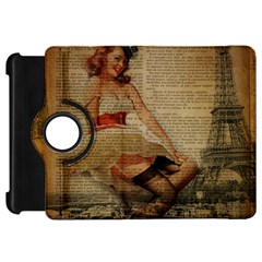 Cute Sweet Sailor Dress Vintage Newspaper Print Sexy Hot Gil Elvgren Pin Up Girl Paris Eiffel Tower Kindle Fire Hd 7  Flip 360 Case by chicelegantboutique