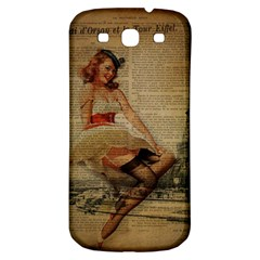 Cute Sweet Sailor Dress Vintage Newspaper Print Sexy Hot Gil Elvgren Pin Up Girl Paris Eiffel Tower Samsung Galaxy S3 S Iii Classic Hardshell Back Case by chicelegantboutique