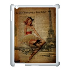 Cute Sweet Sailor Dress Vintage Newspaper Print Sexy Hot Gil Elvgren Pin Up Girl Paris Eiffel Tower Apple Ipad 3/4 Case (white) by chicelegantboutique