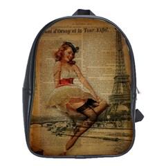 Cute Sweet Sailor Dress Vintage Newspaper Print Sexy Hot Gil Elvgren Pin Up Girl Paris Eiffel Tower School Bag (xl) by chicelegantboutique