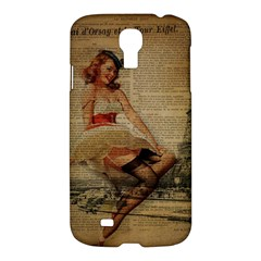 Cute Sweet Sailor Dress Vintage Newspaper Print Sexy Hot Gil Elvgren Pin Up Girl Paris Eiffel Tower Samsung Galaxy S4 I9500/i9505 Hardshell Case by chicelegantboutique