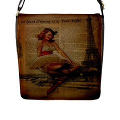 Cute Sweet Sailor Dress Vintage Newspaper Print Sexy Hot Gil Elvgren Pin Up Girl Paris Eiffel Tower Flap Closure Messenger Bag (large) by chicelegantboutique