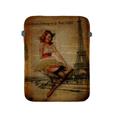 Cute Sweet Sailor Dress Vintage Newspaper Print Sexy Hot Gil Elvgren Pin Up Girl Paris Eiffel Tower Apple Ipad 2/3/4 Protective Soft Case by chicelegantboutique