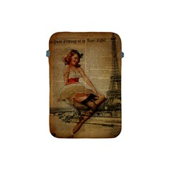 Cute Sweet Sailor Dress Vintage Newspaper Print Sexy Hot Gil Elvgren Pin Up Girl Paris Eiffel Tower Apple Ipad Mini Protective Soft Case by chicelegantboutique