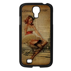 Cute Sweet Sailor Dress Vintage Newspaper Print Sexy Hot Gil Elvgren Pin Up Girl Paris Eiffel Tower Samsung Galaxy S4 I9500/ I9505 (black) by chicelegantboutique