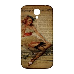 Cute Sweet Sailor Dress Vintage Newspaper Print Sexy Hot Gil Elvgren Pin Up Girl Paris Eiffel Tower Samsung Galaxy S4 I9500/i9505  Hardshell Back Case