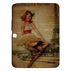 Cute Sweet Sailor Dress Vintage Newspaper Print Sexy Hot Gil Elvgren Pin Up Girl Paris Eiffel Tower Samsung Galaxy Tab 3 (10 1 ) P5200 Hardshell Case  by chicelegantboutique