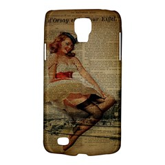 Cute Sweet Sailor Dress Vintage Newspaper Print Sexy Hot Gil Elvgren Pin Up Girl Paris Eiffel Tower Samsung Galaxy S4 Active (i9295) Hardshell Case
