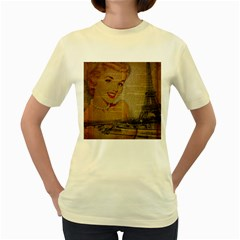 Yellow Dress Blonde Beauty    Womens  T Shirt (yellow) by chicelegantboutique