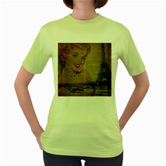 Yellow Dress Blonde Beauty   Womens  T Shirt (green) by chicelegantboutique