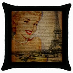Yellow Dress Blonde Beauty   Black Throw Pillow Case by chicelegantboutique