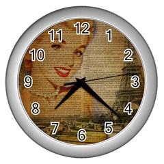 Yellow Dress Blonde Beauty   Wall Clock (silver) by chicelegantboutique