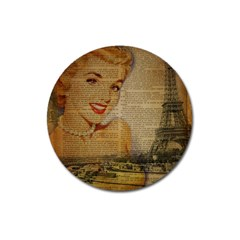 Yellow Dress Blonde Beauty   Magnet 3  (round) by chicelegantboutique