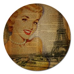 Yellow Dress Blonde Beauty   Magnet 5  (round) by chicelegantboutique