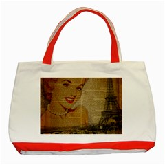 Yellow Dress Blonde Beauty   Classic Tote Bag (red) by chicelegantboutique