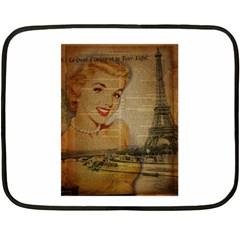 Yellow Dress Blonde Beauty   Mini Fleece Blanket (two Sided) by chicelegantboutique