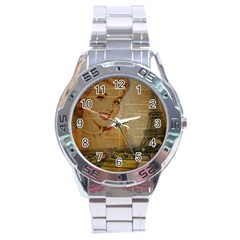 Yellow Dress Blonde Beauty   Stainless Steel Watch (men s) by chicelegantboutique