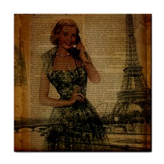 Retro Telephone Lady Vintage Newspaper Print Pin Up Girl Paris Eiffel Tower Ceramic Tile