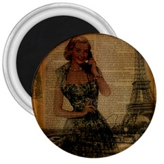 Retro Telephone Lady Vintage Newspaper Print Pin Up Girl Paris Eiffel Tower 3  Button Magnet by chicelegantboutique