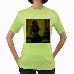 Retro Telephone Lady Vintage Newspaper Print Pin Up Girl Paris Eiffel Tower Womens  T Shirt (green) by chicelegantboutique