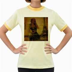 Retro Telephone Lady Vintage Newspaper Print Pin Up Girl Paris Eiffel Tower Womens  Ringer T Shirt (colored) by chicelegantboutique