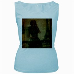 Retro Telephone Lady Vintage Newspaper Print Pin Up Girl Paris Eiffel Tower Womens  Tank Top (baby Blue) by chicelegantboutique