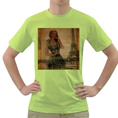 Retro Telephone Lady Vintage Newspaper Print Pin Up Girl Paris Eiffel Tower Mens  T Shirt (green) by chicelegantboutique