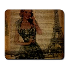 Retro Telephone Lady Vintage Newspaper Print Pin Up Girl Paris Eiffel Tower Large Mouse Pad (rectangle) by chicelegantboutique