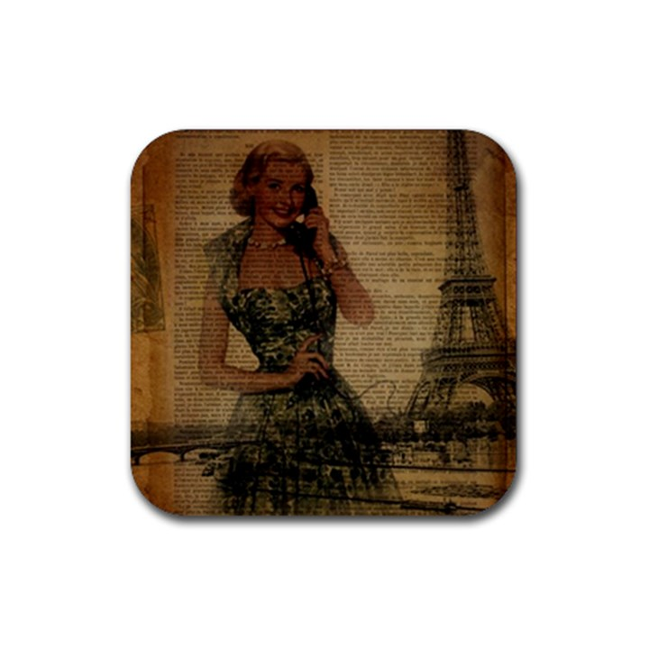 Retro Telephone Lady Vintage Newspaper Print Pin Up Girl Paris Eiffel Tower Drink Coaster (Square)