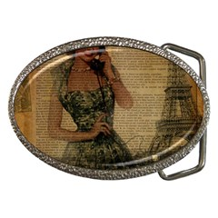Retro Telephone Lady Vintage Newspaper Print Pin Up Girl Paris Eiffel Tower Belt Buckle (oval) by chicelegantboutique