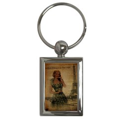 Retro Telephone Lady Vintage Newspaper Print Pin Up Girl Paris Eiffel Tower Key Chain (rectangle) by chicelegantboutique